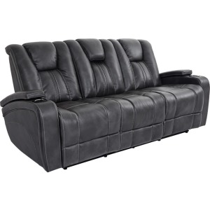 Gray Bolero Power Double-Reclining Sofa w/Power Headrests, Drop-Down Table, Cup Holders, & Storage Arms