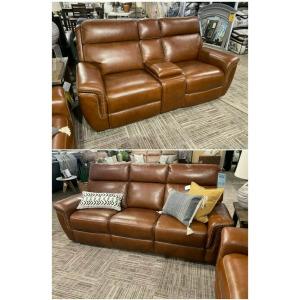 Leather Reclining Sofa & Loveseat Set
