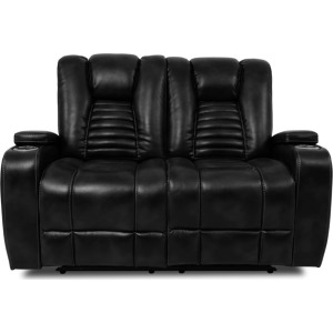 Black Power Double-Reclining Loveseat w/Power Headrests, Cup Holders, & Storage Arms