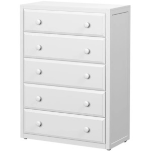 Big 5 Dresser with Crown & Base - White