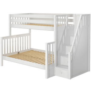Totem High Twin XL over Full XL Bunk Bed with Stairs - White