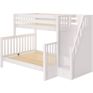 Wrestler High Twin XL over Queen Bunk Bed with Stairs - White