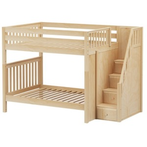 TOPPER NS : High Bunk Bed with Staircase on End : Full : Natural : Slat