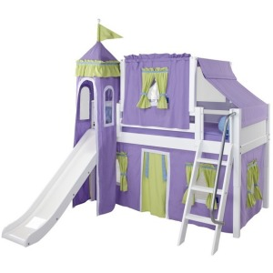 Low Loft Bed with Angled Ladder, Tower, Top Tent & Curtain and Slide : Twin : White : Panel