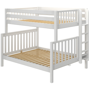 High Full XL over Queen Bunk Bed with Straight Ladder - White