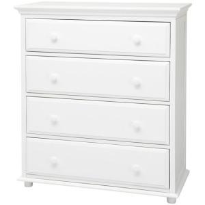 4 Drawer Dresser w/ Crown & Base : : White :