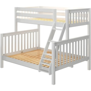 High Twin XL Over Queen Bunk Bed with Ladder - White