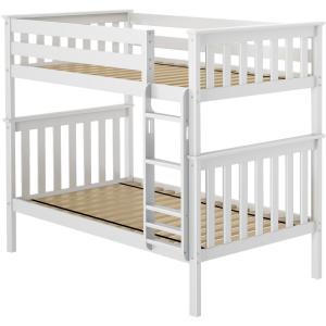 Twin/Twin Bunk Bed w/2 Slat Rolls - White