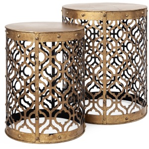 Rudebekia Gold Round Metal Accent Tables S/2