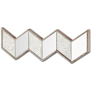 Chevron Brown Wood Frame Mirror