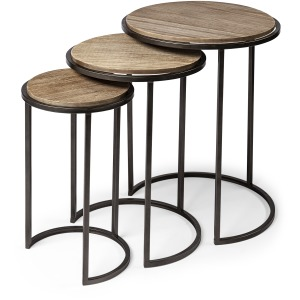 Glover Brown Wood Round Top W/Metal Nesting Accent Tables