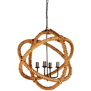 Amberg Brass-Toned Metal and Natural Robe Six Bulb Chandelier