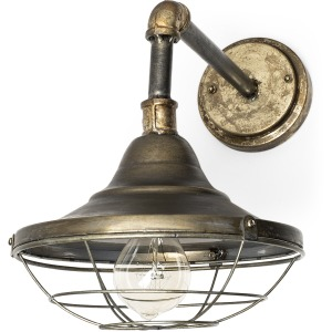 Agadir  Bronze Metal Conical Shade Caged Wall Sconce