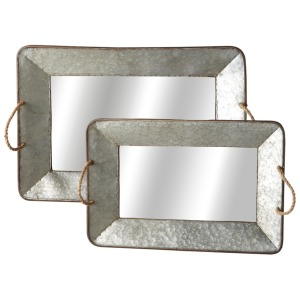 Galvanized Mirror Tray with Rope Handle set/2