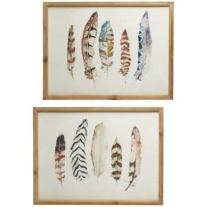 Framed Feather Wall Art with Glass (2 asstd)
