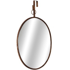 Distressed Gold Oval Mirror with Loop Hanger