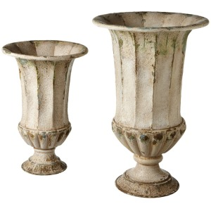 Distressed Ivory Urn Planter set/2