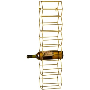 Six Bottle Gold Honey Comb Wine Rack.