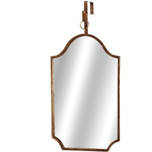 Distressed Gold Shield Mirror with Loop Hanger