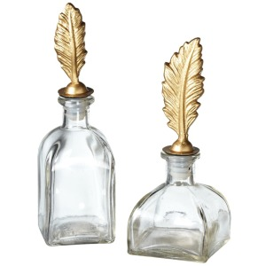 Decorative Bottle with Feather Topper (2 asstd)
