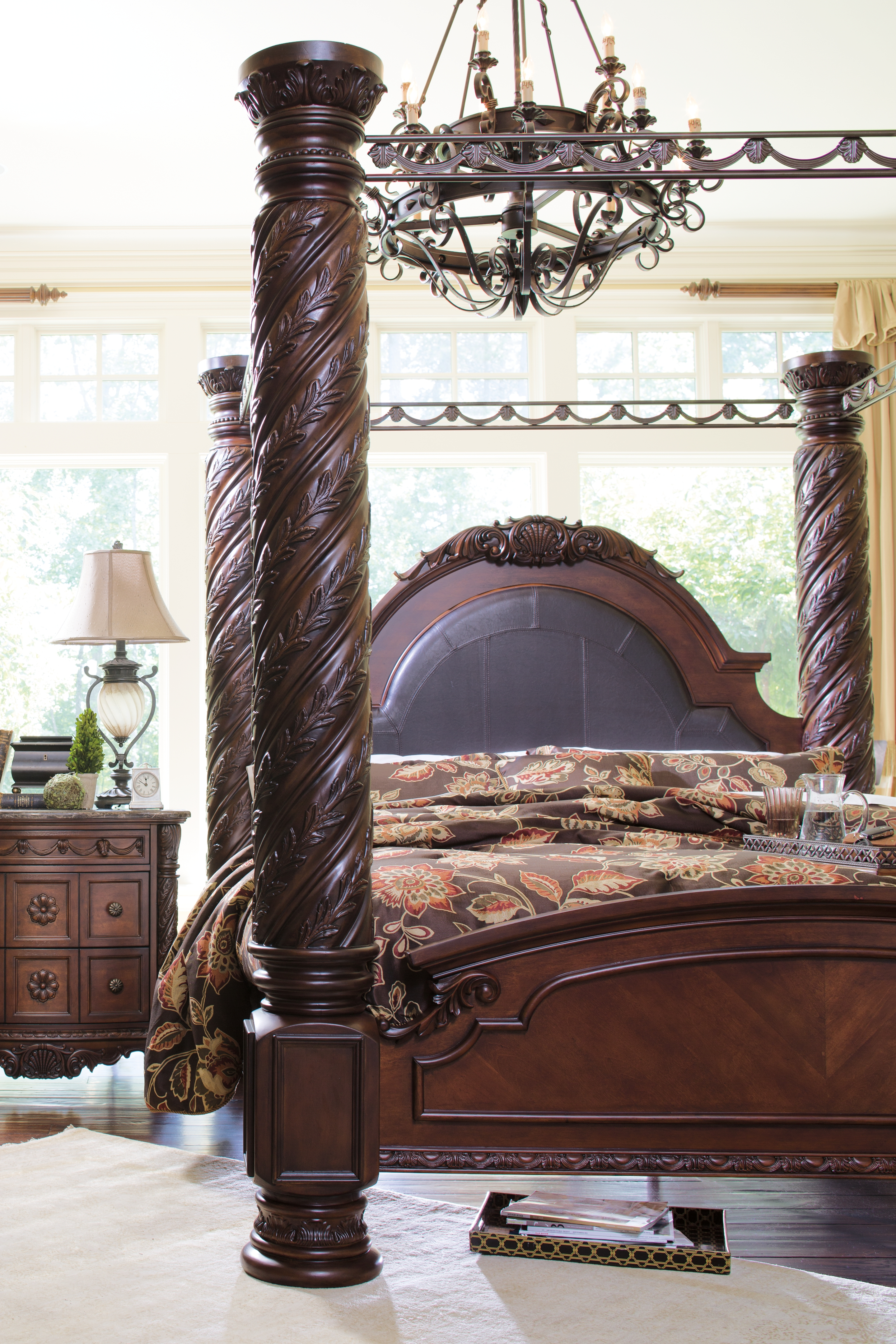 North Shore King Poster Bed With Canopy By Millennium By Ashley B553b4 Pierce Furniture Mattress
