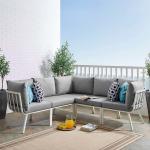 Riverside 5 Piece Outdoor Patio Aluminum Sectional