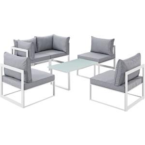 Fortuna 6 Piece Outdoor Patio Sectional Sofa Set
