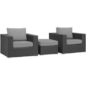 Sojourn 3 Piece Outdoor Patio Sunbrella Sectional Set