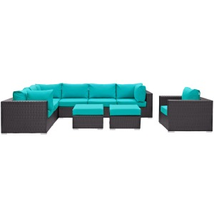 Convene 9 Piece Outdoor Patio Sectional Set