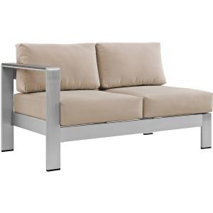 Shore Left-Arm Corner Sectional Outdoor Patio Aluminum Loveseat