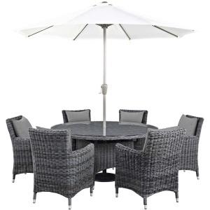 Summon 8 Piece Outdoor Patio Sunbrella Dining Set