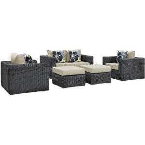 Summon 5 Piece Outdoor Patio Sunbrella Sectional Set