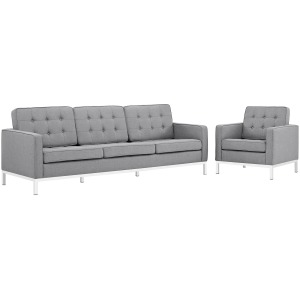 Loft 2 Piece Upholstered Fabric Sofa and Armchair Set