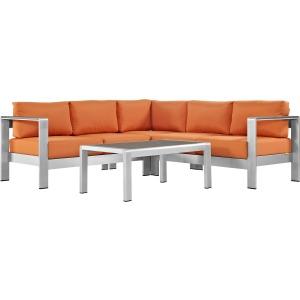 Shore 4 Piece Outdoor Patio Aluminum Sectional Sofa Set