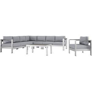 Shore 7 Piece Outdoor Patio Aluminum Sectional Sofa Set