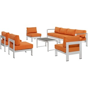 Shore 7 Piece Outdoor Patio Sectional Sofa Set