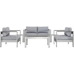 Shore 6 Piece Outdoor Patio Aluminum Sectional Sofa Set