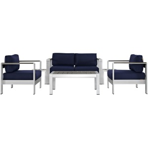 Shore 6 Piece Outdoor Patio Aluminum Sectional Sofa Set