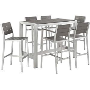 Shore 7 Piece Outdoor Patio Aluminum Dining Set