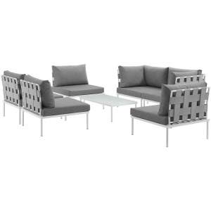 Harmony 7 Piece Outdoor Patio Aluminum Sectional Sofa Set