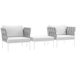 Harmony 3 Piece Outdoor Patio Aluminum Sectional Sofa Set