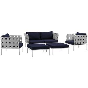 Harmony 5 Piece Outdoor Patio Aluminum Sectional Sofa Set