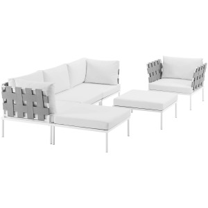 Harmony 6 Piece Outdoor Patio Aluminum Sectional Sofa Set