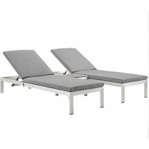 Shore 3 Piece Outdoor Patio Aluminum Chaise with Cushions