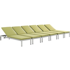 Shore Chaise with Cushions Outdoor Patio Aluminum Set of 6