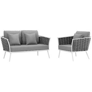 Stance 2 Piece Outdoor Patio Aluminum Sectional Sofa Set