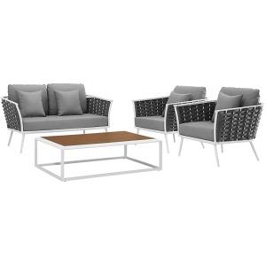 Stance 4 Piece Outdoor Patio Aluminum Sectional Sofa Set