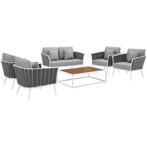 Stance 6 Piece Outdoor Patio Aluminum Sectional Sofa Set