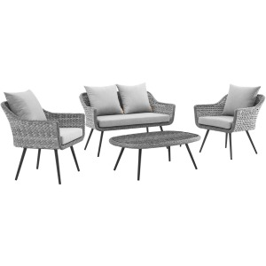 Endeavor 4 Piece Outdoor Patio Wicker Rattan Loveseat Armchair and Coffee Table Set