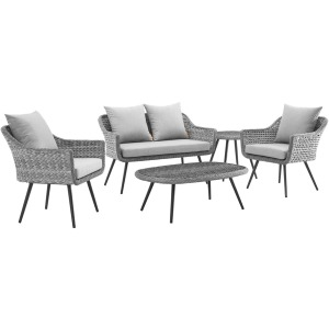 Endeavor 5 Piece Outdoor Patio Wicker Rattan Loveseat Armchair Coffee Table and Side Table Set
